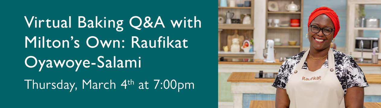 Takes you to the registration page for the virtual baking q&a with Raufikat
