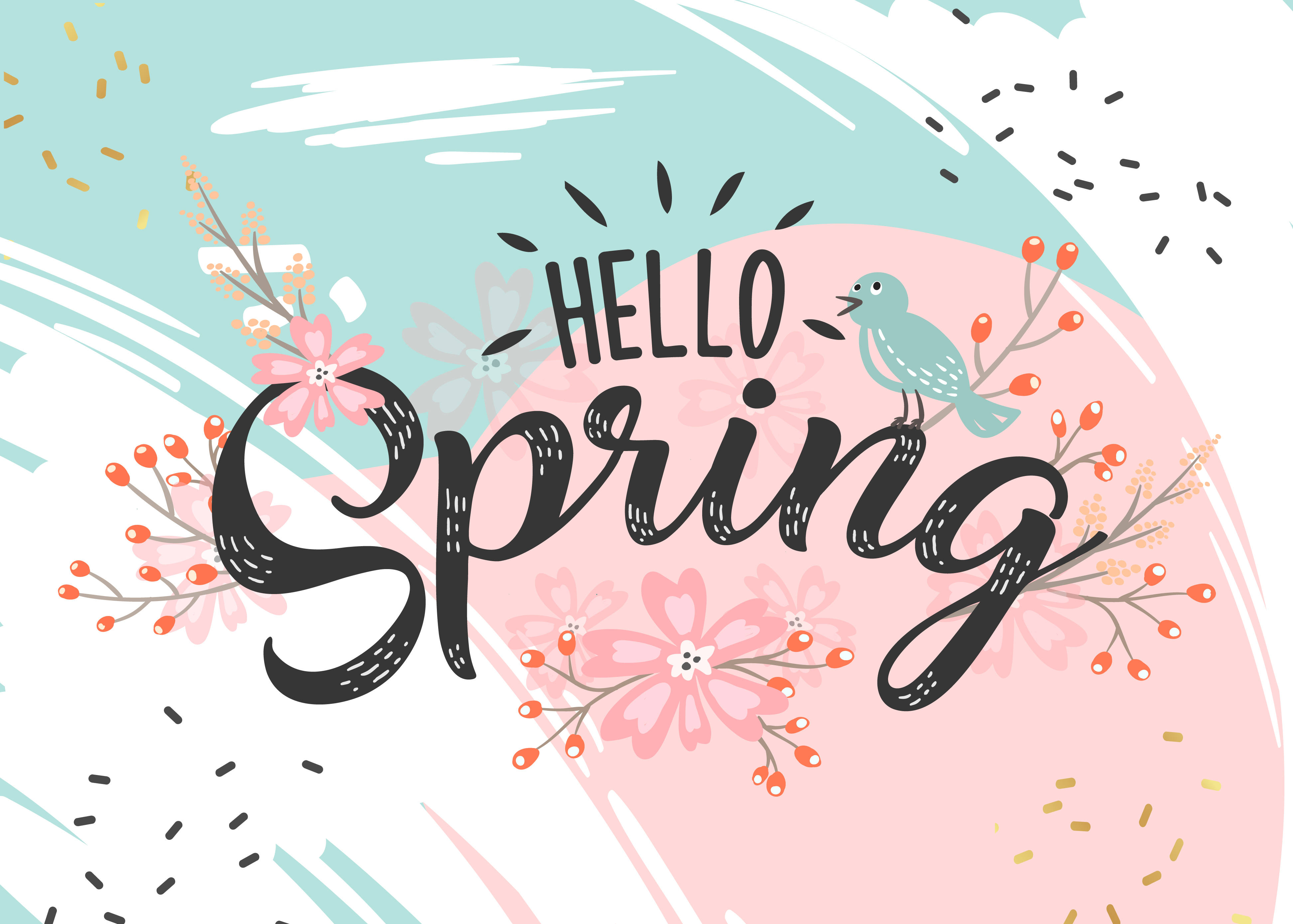 image that says hello spring, with flowers and a bird